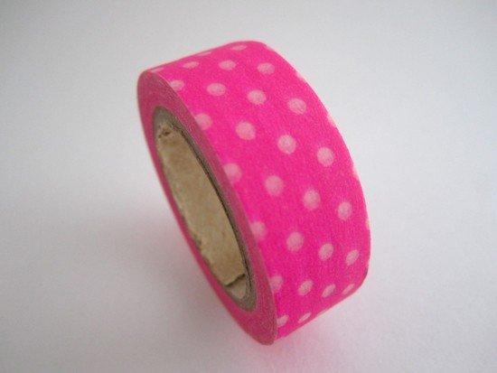 Masking Tape pois / rose fluo
