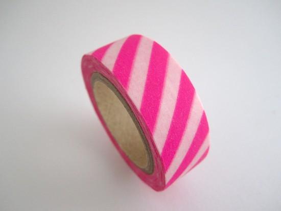 Masking Tape rayures / rose fluo