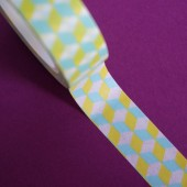 masking tape cube 3D / jaune et bleu