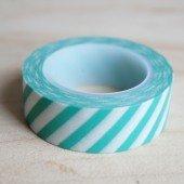 masking tape rayures obliques - turquoise